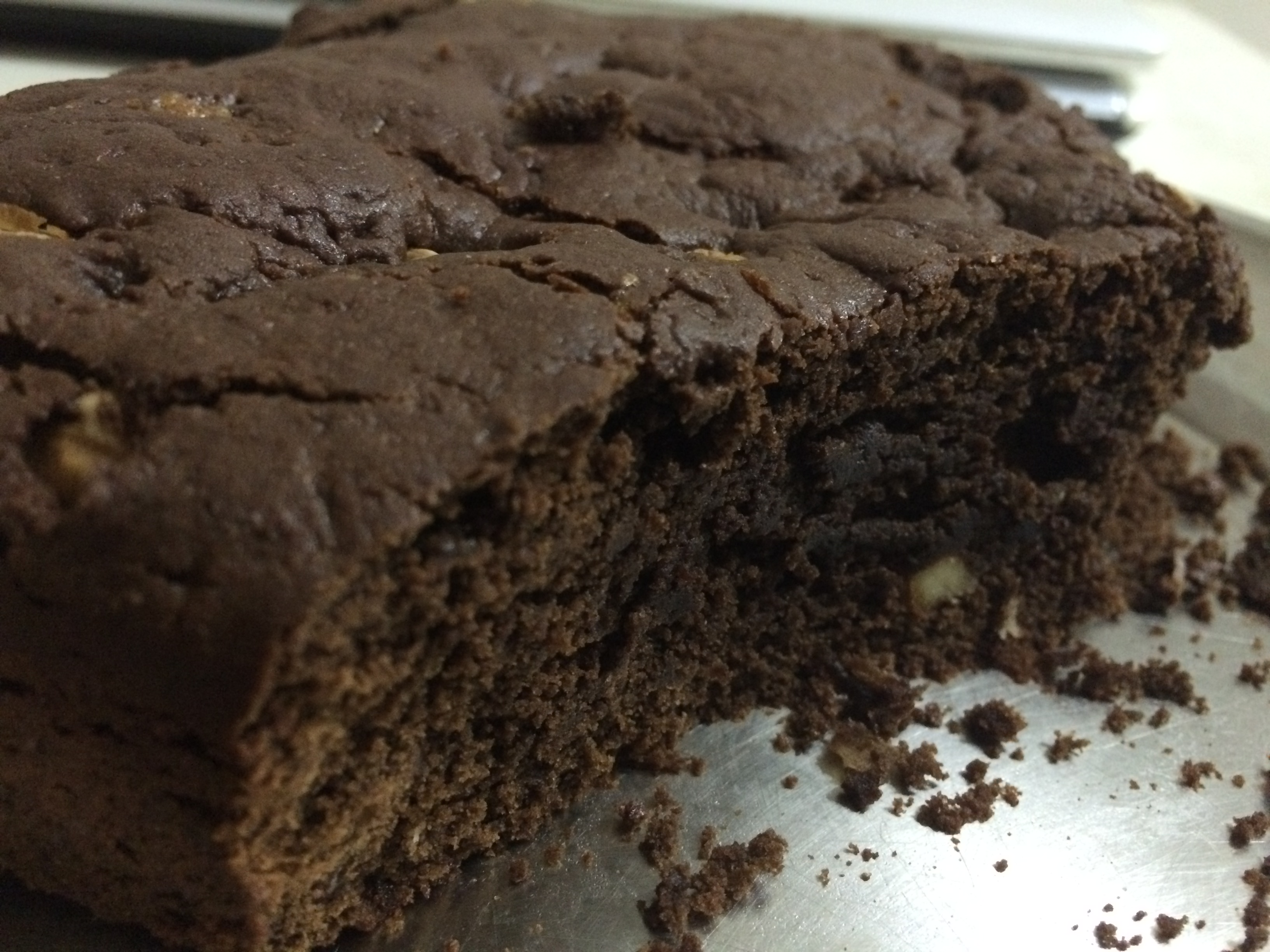 Homemade chocolate walnut brownie with jaggery and whole ...